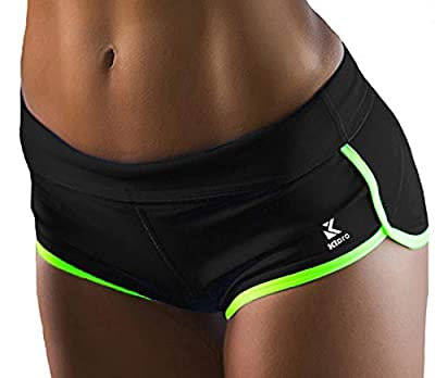 Kipro Teen Girls Running Shorts Gym Workout Yoga Sport Performance Short Black/Fluorescent Green