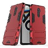 MPD Hülle für Realme X2 Pro Standfunktion Handyhülle Stoßfeste Doppelschichter Schutzhülle Bumper Hülle Cover Outdoor Hart Hardcase Shock Absorption mit Ständer (Realme X2 Pro, Rot)