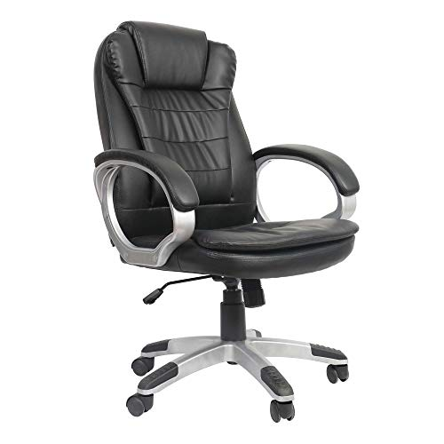 VOSSBACH Bürostuhl Schreibtischstuhl Kunstleder Chefsessel Drehstuhl Höhenverstellbar Büro Gaming Stuhl Schwarz Schreibtisch Sessel 150kg