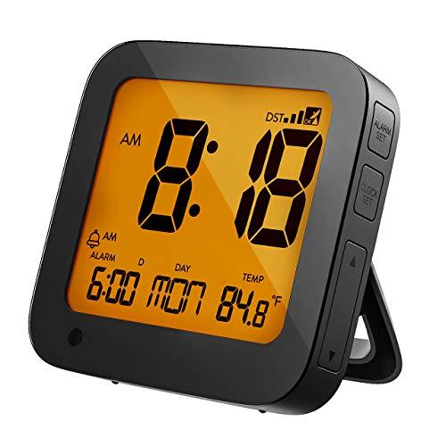 PICTEK Funkwecker, Funkwecker Digital, DCF-Funkuhr, Reisewecker, Wecker digital, Sensorgesteuerte Hintergrundbeleuchtung, LCD-Display, Temperatur- und Datumsanzeige Schlummerfunktion batteriebetrieben