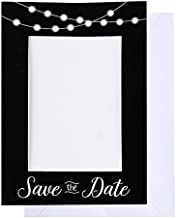 Save the Date Photo Insert Notecards - 48 Pack Picture Frame Notecards. Perfect for Wedding, Engagement, Anniversary, Baby Shower Invitation. Holds 4 x 6 Insert. Printed inside with fill in invitation