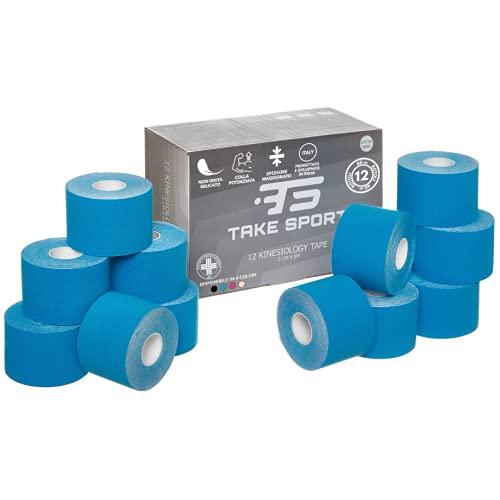 TAKE SPORT®, Kinesio tape, nastro kinesiologico, kinesio taping, tape chinesiologico, kinesio 12 rotoli, 5 x 5m, 95% Cotone 5% Spandex, elastico. Azzurro