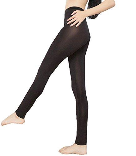 Lazutom Sexy Women Lady See-Through Nylon Open Zip Crotch Leggings Pants (Black, One Size)