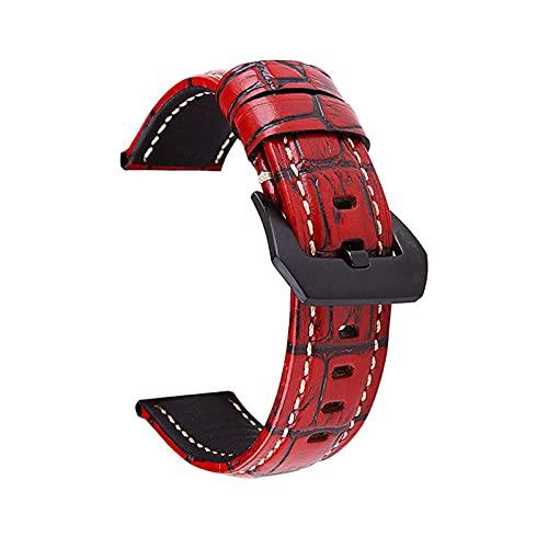 Correas de Cuero Genuino 20-26mm Correa del Reloj Retro clásico del Banda de Reloj para Hombres Mujeres, Rojo, 24mm