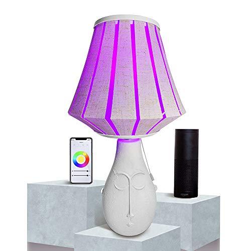 Lampada da Comodino, SUMGLED Lampada da Tavolo in ceramica Vaso , Dimmerabile Lampada da Scrivania Controllato da APP, Alexa e Google Home per salotto, Camera, Letto (Wi-Fi 9W Lampadine LED Incluso)
