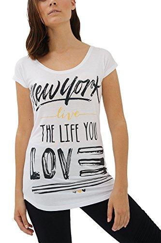 trueprodigy Casual Damen Marken T-Shirt Aufdruck Oberteil Cool Stylisch Rundhals Kurzarm Slim Fit Shirt für Frauen Bedruckt, Größe:L, Farben:Weiß