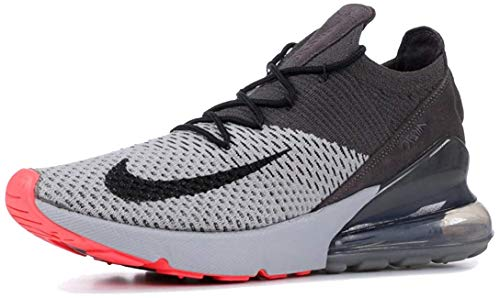 Nike Air Max 270 Flyknit - Mens Atmosphere Grey/Hyper Punch/Thunder Grey Nylon Training Shoes, 10