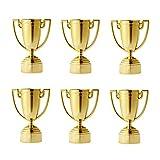 NUOBESTY 6 Piezas de Plástico Trofeo Copas de Oro para Torneos Deportivos Competiciones Escolares Fiestas Juegos Niños 8 Cm