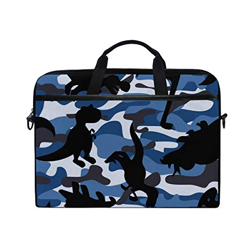 Linomo Computer Bag Camouflage Blue Camo Dinosaur Laptop Sleeve Case Briefcase Messenger Sleeve Laptop Shoulder Bag fits 13 Inch 14 Inch 14.5 Inch Laptop for Women Men Office Kids School