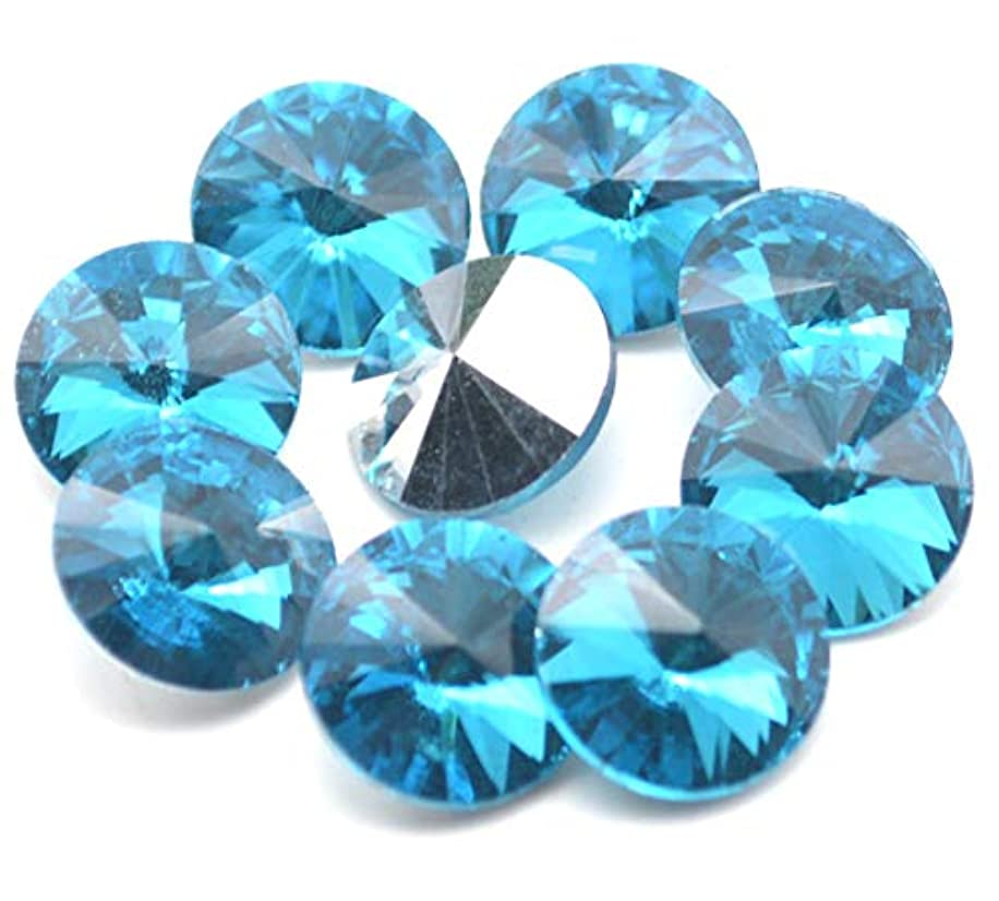 Catotrem Crystal Stones Round Fancy Glass Rhinestone Beads for DIY Dress Jewelry Making 100pcs(River Blue-12mm)