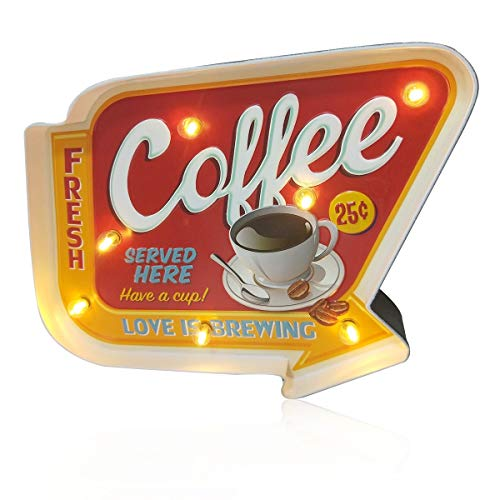 FIUNED Coffee Wall Decorations,Retro Wall Decor,Metal Vintage Handmade Marquee Embossed Tin Decor,Wall Hanging Sign,for Apartment,Home,Bar or Cafe Wall Decoration–Battery Operated (Coffee)