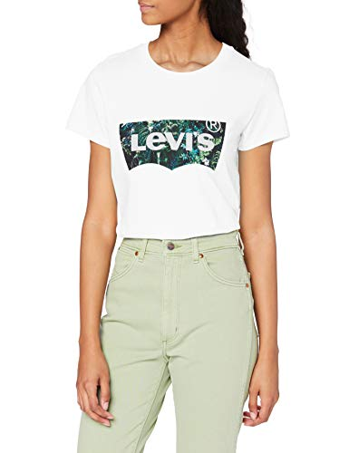 Levi's The Perfect Tee T-Shirt, Batwing Greenery Film White+, S Donna