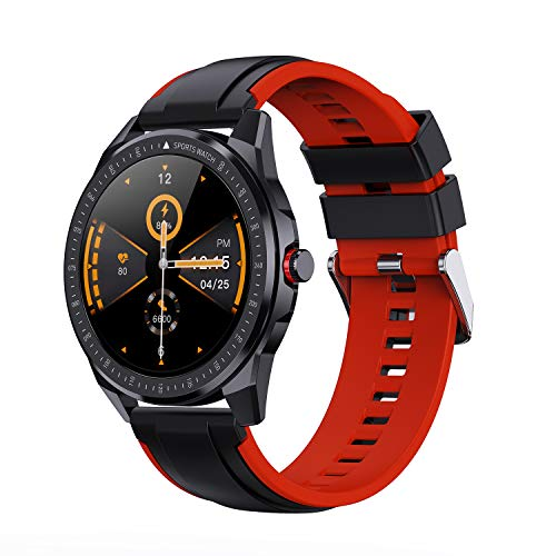 Yocuby SmartWatch Fitness Tracker mit IP68 Wasserdicht 1.3' Zoll Full Touch Screen 60 Batterie Laufzeit Herzfrequenz/Schlafmonitor SMS-Benachrichtigung Google Fit (Schwarz Rot)