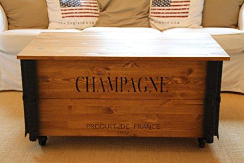 Uncle Joe's - Tavolino da salotto XL in stile vintage shabby chic, in legno massiccio marrone con vano portaoggetti e coperchio, in legno di noce