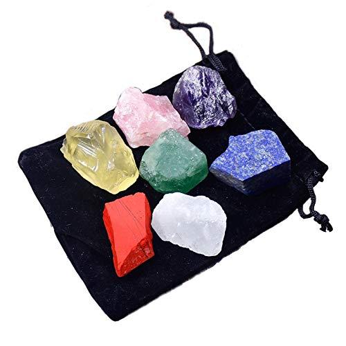 ZXBF Decoración Piedras 1 Set Natural Crystal Piedra Siete Chakras Bolsa Negra Bolsa de Tela Grande Grano Grano sin Pulido Regalo (Color