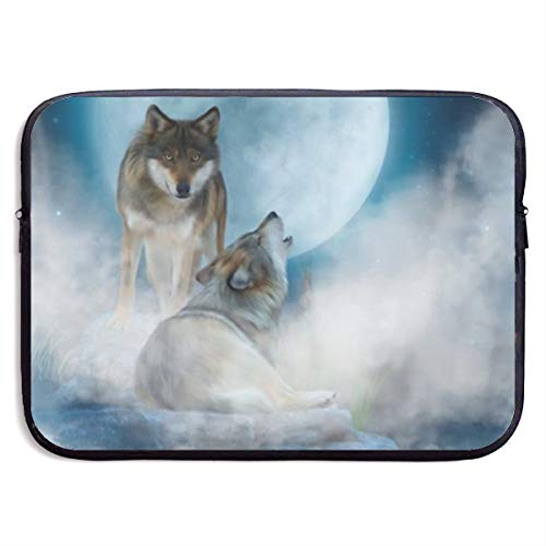 Gao808yuniqi Wolves in The Mist Laptop Sleeve Shoulder Bag for Women, Protective Carrying Case Compatible with 13-15 Inch MacBook Pro, Air, Notebook,Slim Sleeve