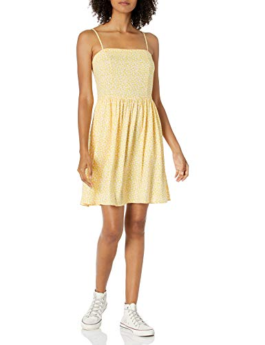 Amazon Brand - Goodthreads Women's Georgette Smock-Back Cami Mini Dress, Yellow Scattered Floral Print, X-Large