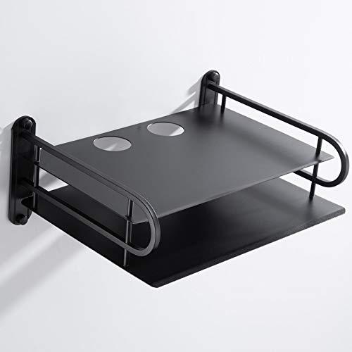 X-Baofu, 1pc Negro Wireless Router WiFi Organizador del almacenaje de contenedores Cajas, TV Set Top Boxes Montaje en la Pared Soporte de la Parrilla Soporte de repisa (tamaño : Big Black Bracket) 🔥