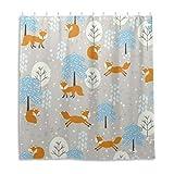 Orediy Wasserdichte Duschvorhänge Winter Cartoon Füchse 100prozent Polyester Anti Schimmel Badvorhang mit 12 Haken für Badezimmer Dekor 168 x 183 cm