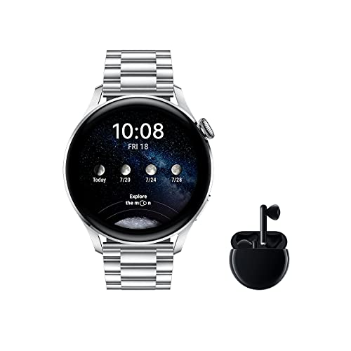 HUAWEI Watch 3 Elite + Freebuds 3 Negro - Smartwatch 4G con pantalla táctil 1.43'' AMOLED, eSIM para llamadas telefónicas sin móvil, 3 días de batería, Correa de Acero inoxidable