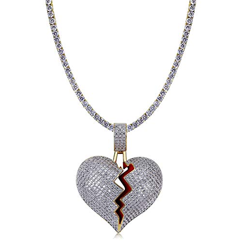 TOPGRILLZ Iced Out Lab Premium Simulated Diamond Bling Bubble Brokenheart Pendant Necklace Chain for Men Women Fashion Jewelry Gifts (DC CZ Link BrokenHeart)