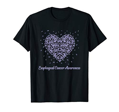 Lavender Heart Ribbon Esophageal Cancer Awareness Gifts T-Shirt