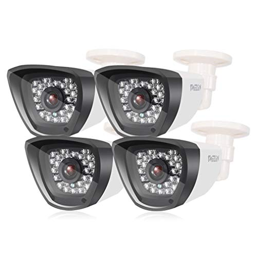 TMEZON 4 Pack 800TVL 960H CCTV Camera HD Home Surveillance IR Cut Outdoor/Indoor Infrared Lens Security Camera Day Night Vision 3.6mm White Bullet