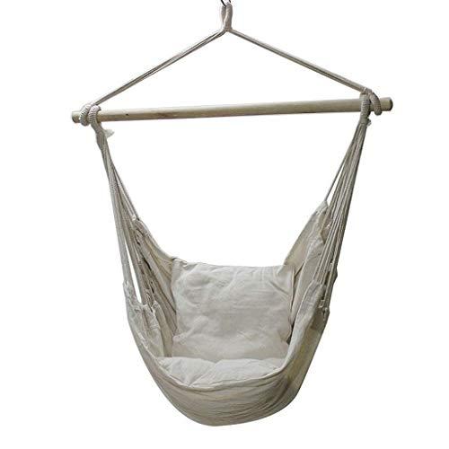 LLSS New Canvas Indoor/Outdoor Hammock Chair Hanging Chair Swing Chair Seat with 2 Pillows for Indoor,Outdoor,Garden