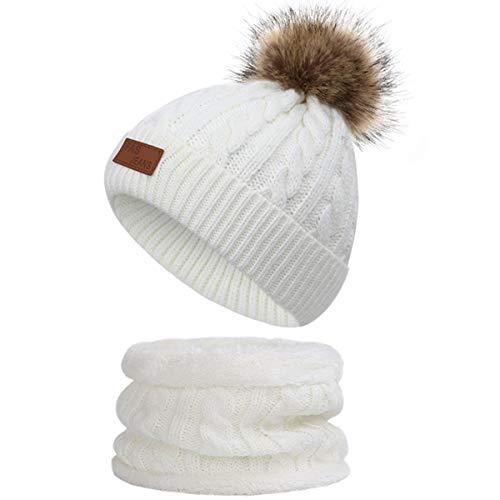 Yixda Baby Mütze Schal Set Mädchen Jungen Warm Fellbommel Beanie Hüte (A4-Weiß)