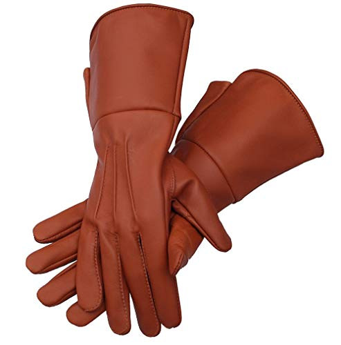 Medieval Gauntlet leather cosplay gloves long arm cuff (Tan Brown, XX-Large)