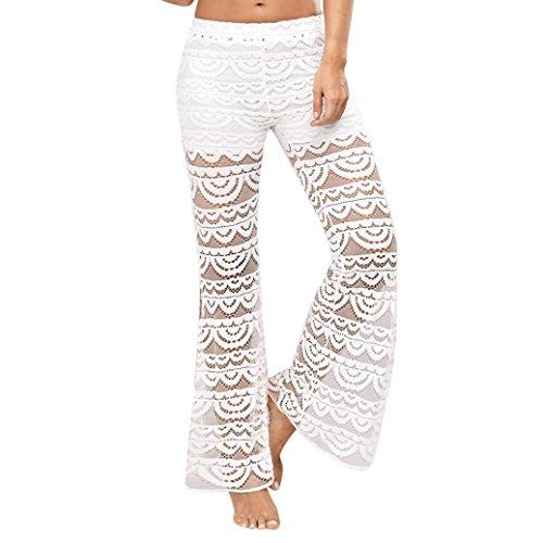 Longra Damen Hosen Stoffhose Leichte Sommerhosen Spitze Hosen Weiße Hose Flare Elegante Hosen Mitte Taille Lange Bein Lange Yoga Hosen Freizeithose (White, L)