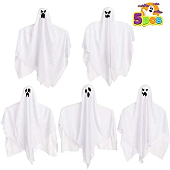 17.7  Halloween Hanging Ghosts  5 Pack  for Halloween Party Decoration Cute Flying Ghost for Front Yard Patio Lawn Garden Party Décor and Holiday Halloween Hanging Decorations