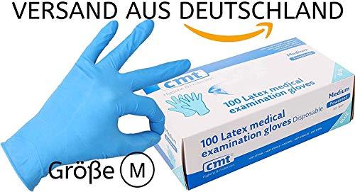 Einweghandschuhe blau Latex 100er Pack nach EN374/EN455/EN388/EN420- gepudert - Latexhandschuhe Einweg von CMT® - Größe M