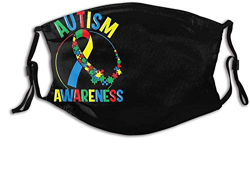 Autism Face Mask Scarf Balaclava, Washable Reusable - Fashion Bandana with 2 Filters, for Adult Man Women & Teens-Colorful Autism Awareness Ribbon 7-1 PCS