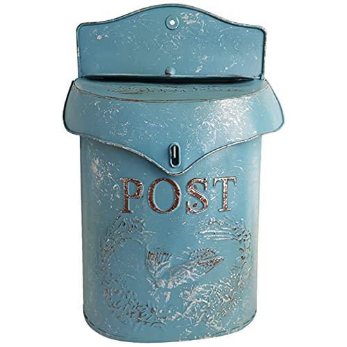 OUUUKL wasserdichte Briefkästen Große Kapazität Briefkasten Vintage Inspiriert Shabby Post Briefkasten an der Wand Befestigtes Design Großer Dekorativer Briefkasten aus Eisen Blau