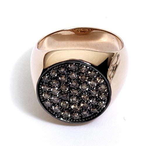 Virano Gioielli, Anello chevalier oro rosso e diamanti brown