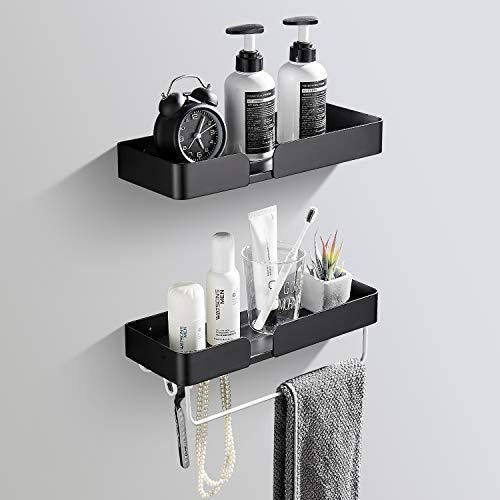 Mensola per doccia senza foratura, con 4 ganci e un porta asciugamani, fori e colla autoadesiva, mensola da bagno in alluminio antiruggine, per bagno e doccia, 2 pezzi, colore nero