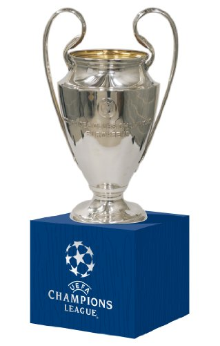 UEFA beker replica CL 70 mm op houten podium, zilver, UEFA-CL-70-HP,