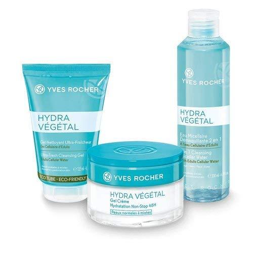 Yves Rocher HYDRA VÉGÉTAL - Set regalo per donne con pelle normale, con Eau Micellaire 2 in 1, gel detergente e crema idratante, idea regalo per donne