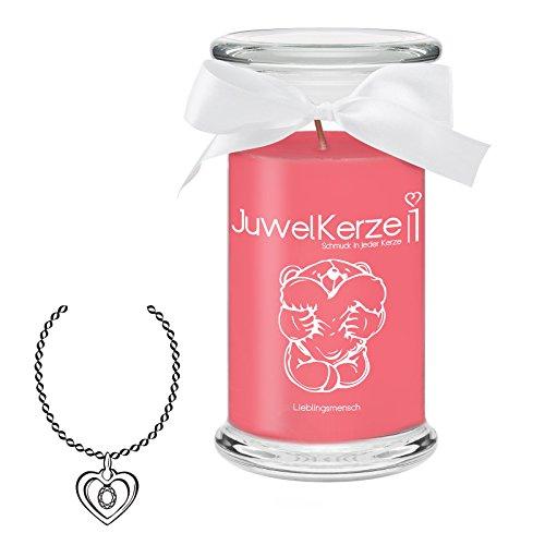 JuwelKerze Lieblingsmensch - Kerze im Glas mit Schmuck - Große rote Duftkerze mit Überraschung als Geschenk für Sie (Silber Halskette & Anhänger, Brenndauer: 90-120 Stunden)