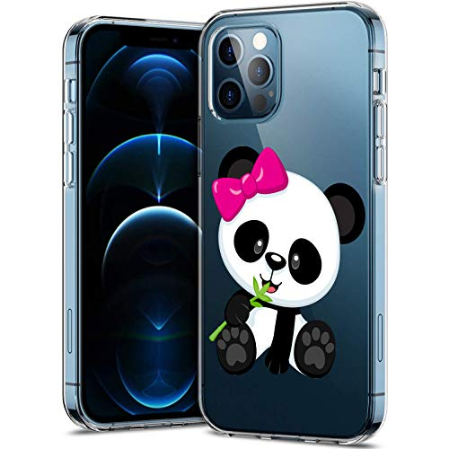 Miceta Phone-Case-for-iPhone-12 Pro,Cute Butterfly & Panda Clear Cover Durable Watercolor Butterfly & Panda Pattern,Soft-Flexible-TPU-Back-Phone-Cases-for-iPhone-12 Pro-6.1-inch-11