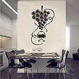 Etiqueta engomada de la pared del vinilo de la copa de vino gourmet papel pintado de la pared del refrigerador de la cocina pegatina de la pared del artista decoración A2 55x105cm