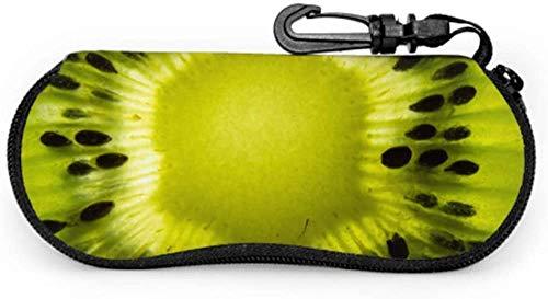 MODORSAN Green Fruit Kiwi Slice Fun Estuche para anteojos Estuche para gafas de sol para mujer Estuche ligero portátil con cremallera de neopreno Estuche blando Estuche elegante para anteojos