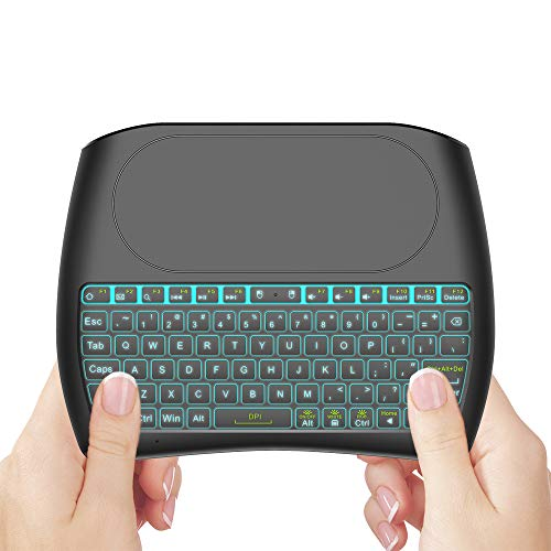 EVANPO Mini Wireless Keyboard with Touchpad Mouse, 2.4GHz Backlit Mini Keyboard, Handheld Remote Control for Android TV Box, Windows PC, HTPC, IPTV, Raspberry Pi, Xbox 360, PS3, PS4
