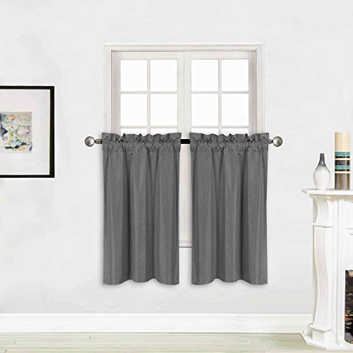 "Better Home Style 100% Blackout 2 Tiers Window Treatment Curtain Insulated Drapes Short Panels for Kitchen Bathroom Basement RV Camper or ANY Small Window M3036 (Charcoal, 2 Panels 28""W X 36""L Each)"