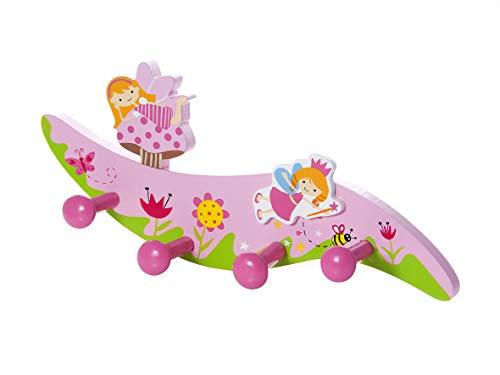 Mousehouse Gifts Perchero de Pared para la Ropa Hecho de Madera con Cuatro Ganchos y decoración de Hadas para la habitación de los niñas