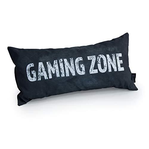 Game Over Eslogan De Zona De Juegos | Cojín De Juegos | Relleno De Miga De Espuma | Resistente Al Agua | para El Sofá Y La Cama | Diseñado Y Hecho En Reino Unido (Gris)