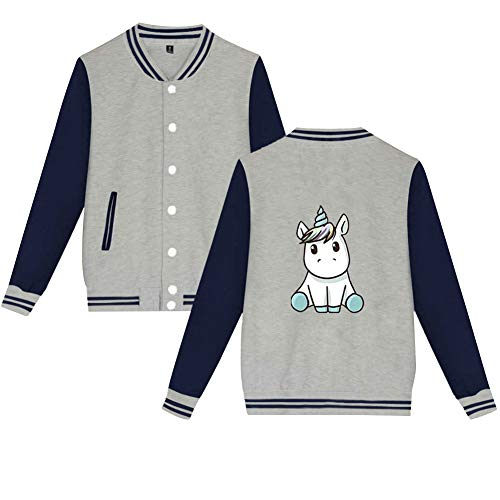 Einhorn Jacke Baseball Damen Cardigan College Herren Unicorn Mantel Herbst Winter Langarmshirt Sweatjacke Old School Strickjacke Bomberjacke...