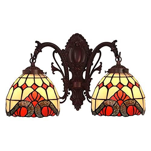 YWYU Lámpara de Pared de Estilo tiffanye para Corredor lámpara de Noche de vidrieras Retro para Porche balcón café Espejo de baño iluminación de Pared, E27,40W, 110-240V DENG0228 (Color : C)