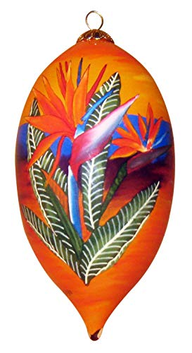 Hand Painted Hawaiian Ornament with Gift Box - Bird of Paradise at Sunset SBP/H